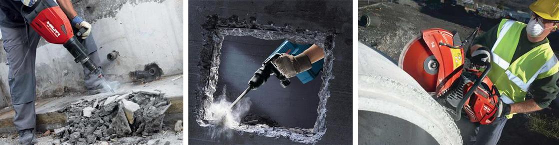 демонтаж бетона отбойными молотками цена за куб