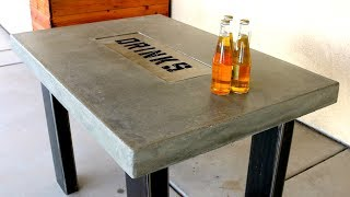 Concrete Countertop Table with DRINK TRAY - DIY